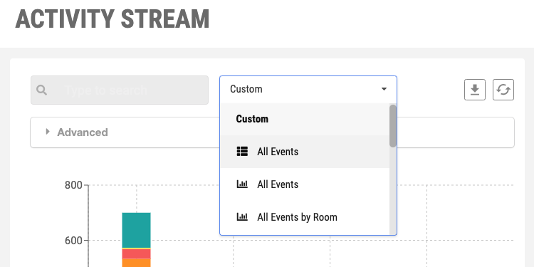 Event reports dropdown