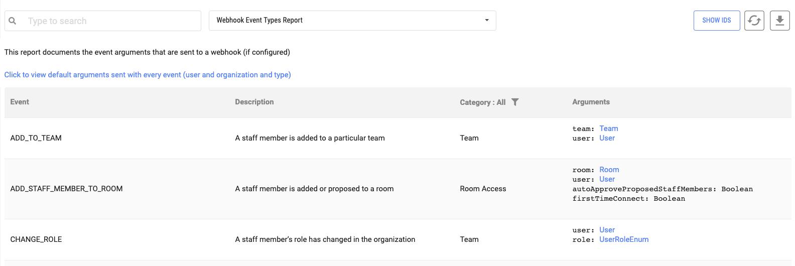 Tehama Reports Webhooks Event Types
