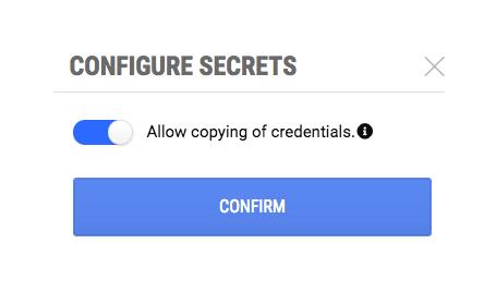 Configure Secrets dialog