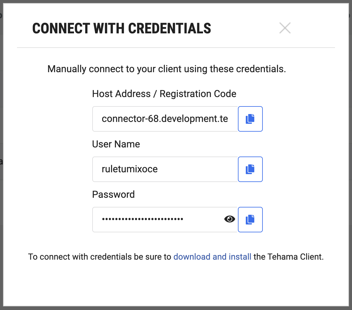 This image shows the CONNECT WITH CREDENTIALS dialog from the Tehama Web UI.