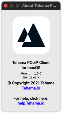 The About Tehama PCoIP Client Page