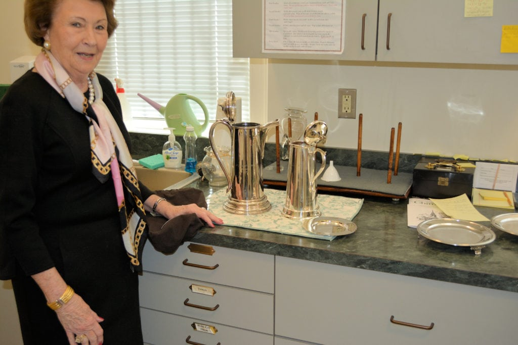 Loretta Miller in the sacristy