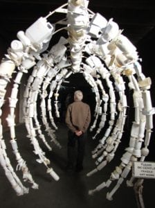whale rib cage sculpted from discarded plastic bottles