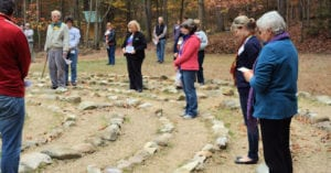 walking the labyrinth at Shrine Mont