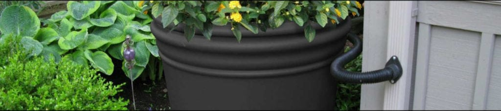 graphic of a working rain barrel