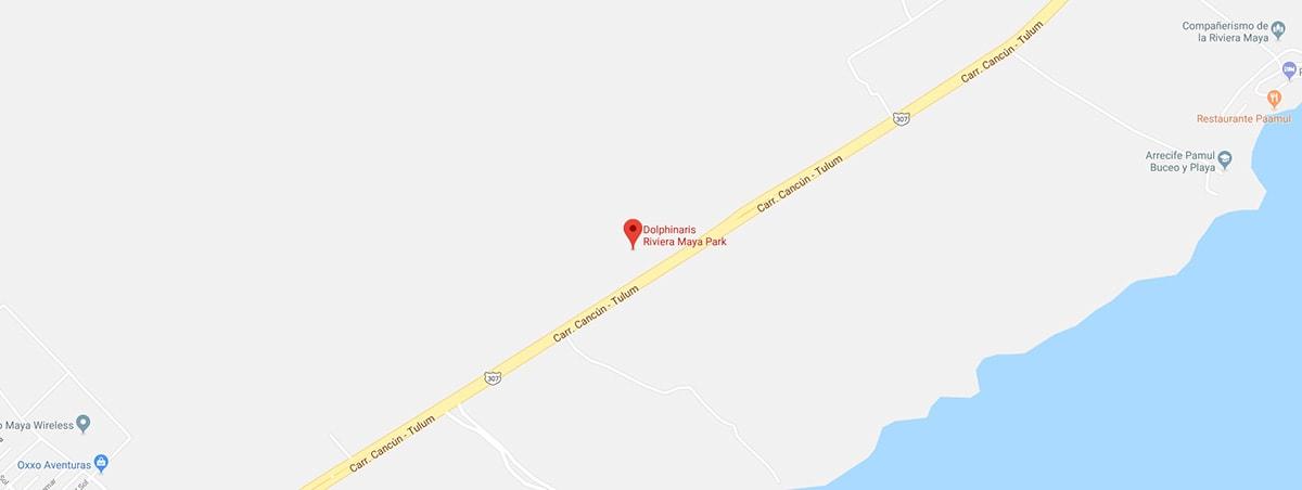 Distance between Dolphinaris Riviera Maya and Playa del Carmen Google Maps Screenshot