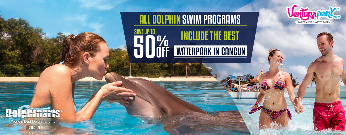 Swim with Dolphins in Cancun plus the best family water park.