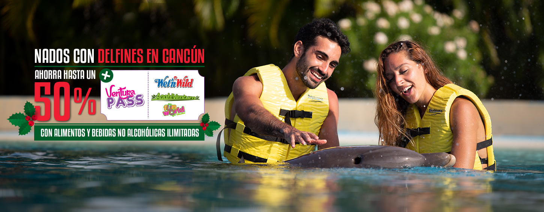 Nadar con delfines en Cancún más entrada gratis al mejor parque acuático y de diversiones.