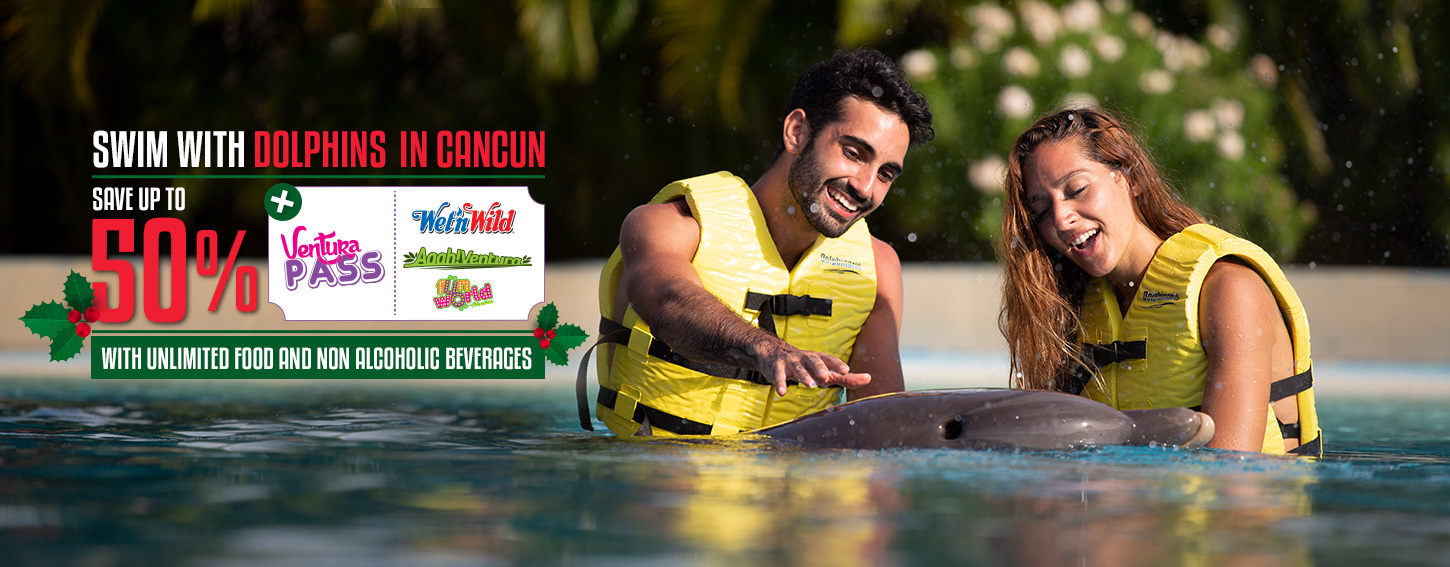 Swim WIth Dolphins in Cancun plus the best family amusement and water park