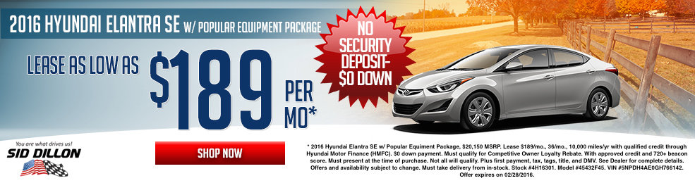 Special offers on the new 2016 Hyundai Elantra at Sid Dillon of Lincoln