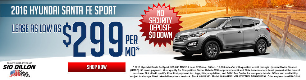 Special offers on the new 2016 Hyundai Santa Fe Sport at Sid Dillon of Lincoln