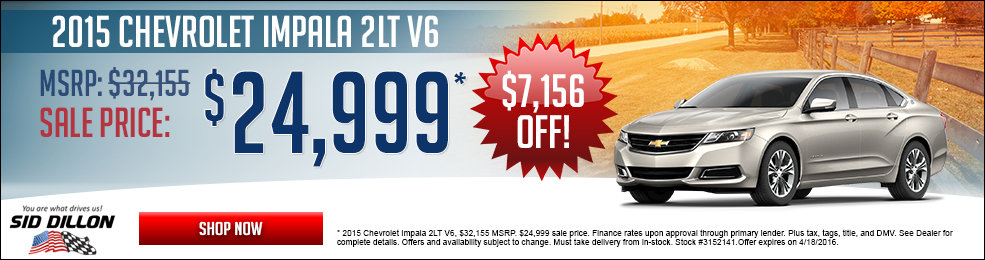 Special offers on the new 2016 Chevrolet Impala at Sid Dillon of Blair