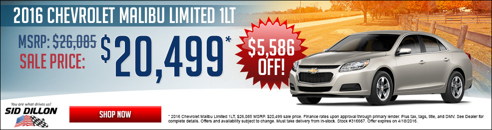 Special offers on the new 2016 Chevrolet Malibu Limited at Sid Dillon of Blair