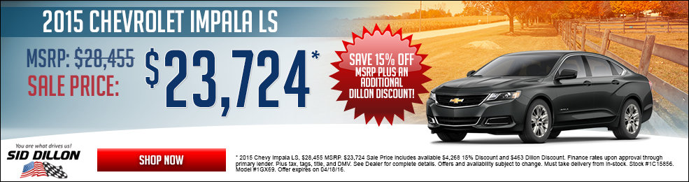 Special offers on the new 2015 Chevrolet Impala only at Sid Dillon Chevrolet Fremont