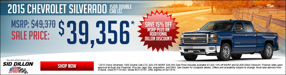 Special offers on the new 2015 Chevrolet Silverao 1500 LTZ only at Sid Dillon Chevrolet Fremont