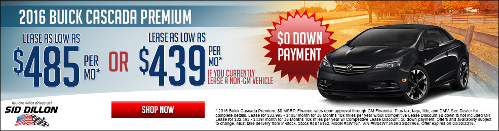 Special offers on the new 2016 Buick Cascada at Sid Dillon of Lincoln