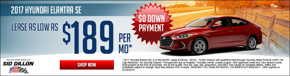 Special offers on the new 2017 Hyundai Elantra at Sid Dillon Lincoln