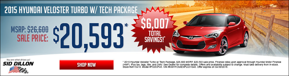 Special offers on the new 2015 Hyundai Veloster Turbo at Sid Dillon Lincoln