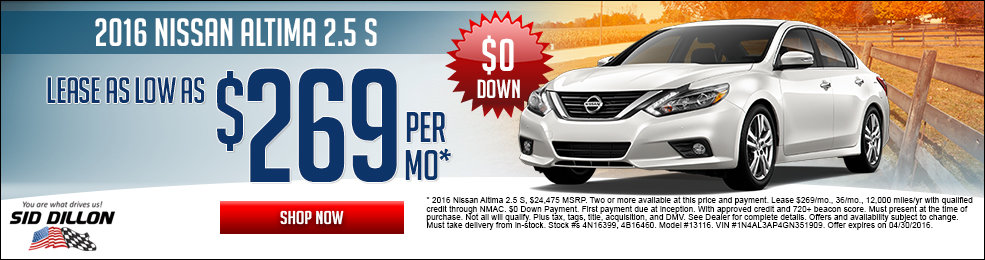 Special offers on the new 2016 Nissan Altima at Sid Dillon of Lincoln