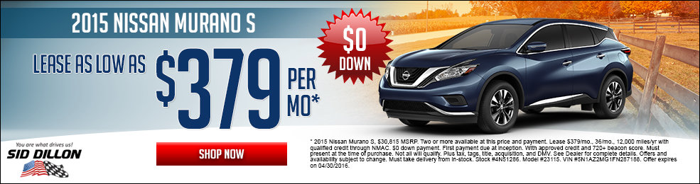 Special offers on the new 2015 Nissan Murano at Sid Dillon of Lincoln