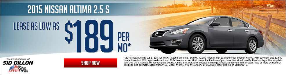 Special offers on the new 2015 Nissan Altima at Sid Dillon of Lincoln