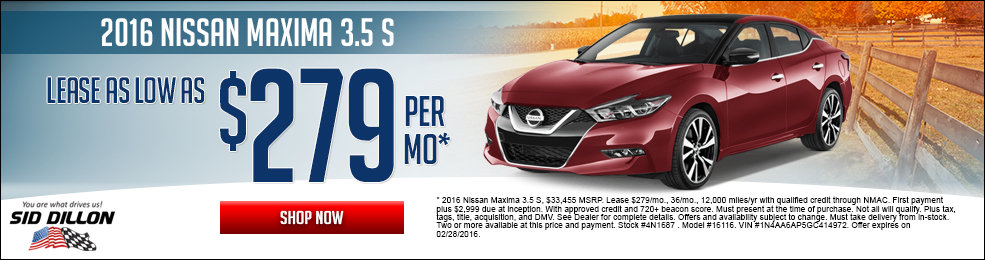 Special offers on the new 2016 Nissan Maxima at Sid Dillon of Lincoln