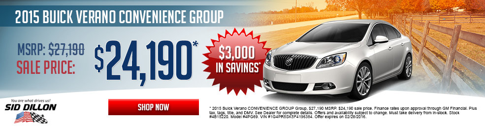 Special offers on the new 2015 Buick Verano at Sid Dillon of Lincoln