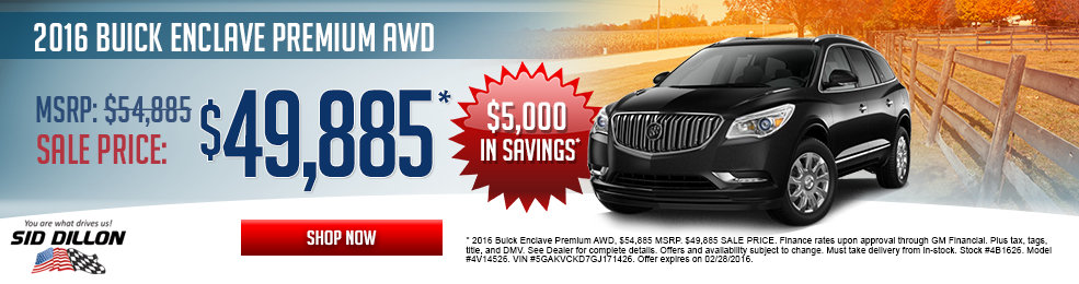 Special offers on the new 2016 Buick Enclave at Sid Dillon of Lincoln