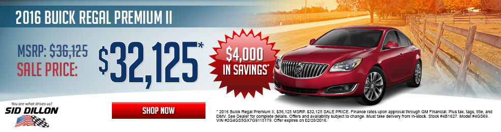 Special offers on the new 2016 Buick Regal at Sid Dillon of Lincoln