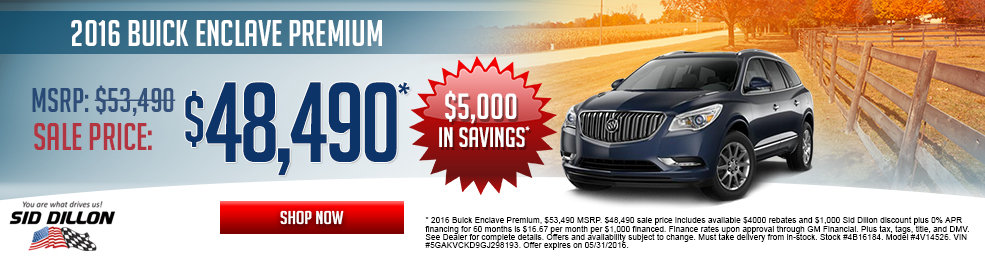 pecial offers on the new 2016 Buick Enclave at Sid Dillon Lincoln