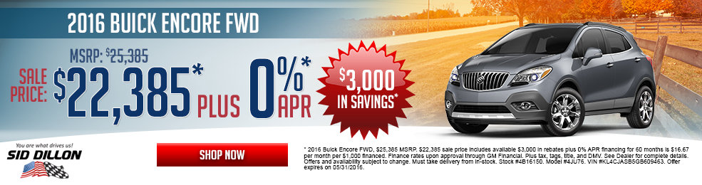 pecial offers on the new 2016 Buick Encore at Sid Dillon Lincoln