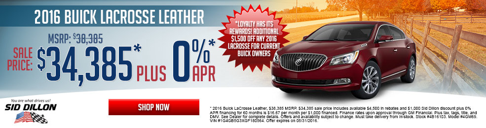 pecial offers on the new 2016 Buick Lacrosse at Sid Dillon Lincoln