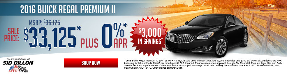 pecial offers on the new 2016 Buick Regal at Sid Dillon Lincoln