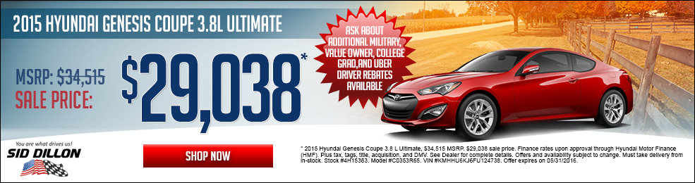 Special offers on the new 2015 Hyundai Genesis Coupe at Sid Dillon Lincoln