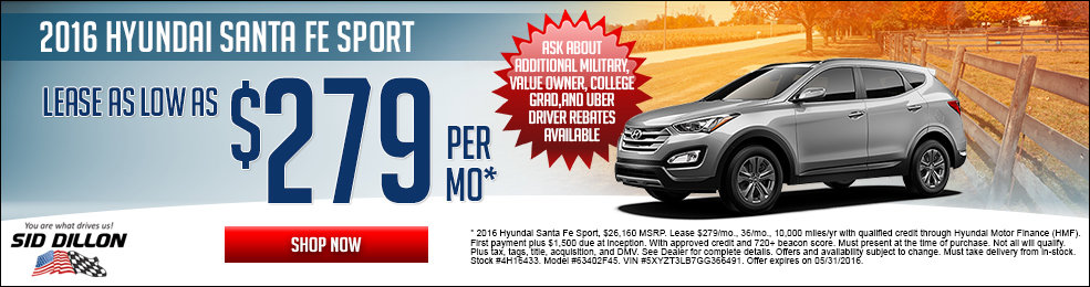 Special offers on the new 2016 Hyundai Santa Fe Sport at Sid Dillon Lincoln