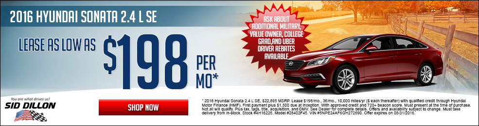 Special offers on the new 2016 Hyundai Sonata at Sid Dillon Lincoln