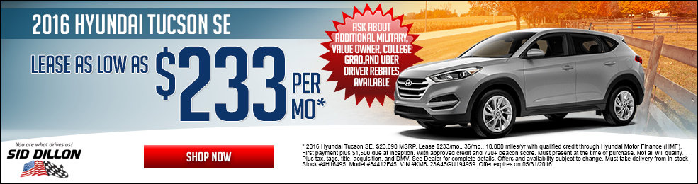 Special offers on the new 2016 Hyundai Tucson at Sid Dillon Lincoln