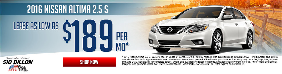 Special offers on the new 2016 Nissan Altima at Sid Dillon Lincoln