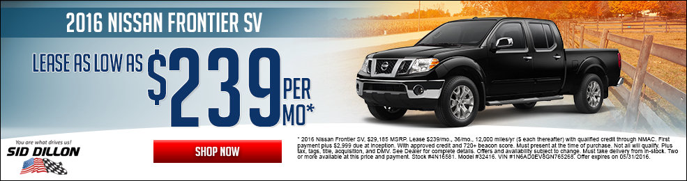 Special offers on the new 2016 Nissan Frontier at Sid Dillon Lincoln