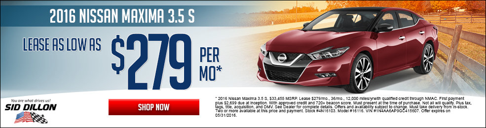 Special offers on the new 2016 Nissan Maxima at Sid Dillon Lincoln