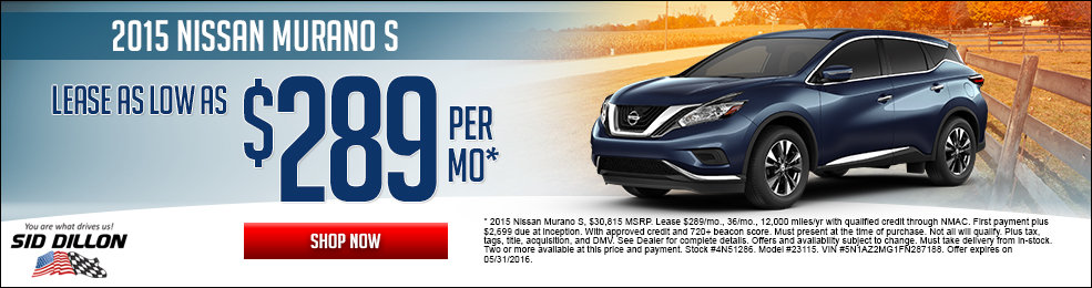 Special offers on the new 2015 Nissan Murano at Sid Dillon Lincoln