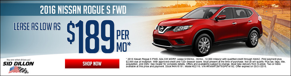 Special offers on the new 2016 Nissan Rogue at Sid Dillon Lincoln