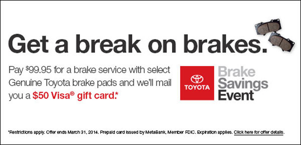 Get a break on brakes with the Brake Savings Event at University Toyota