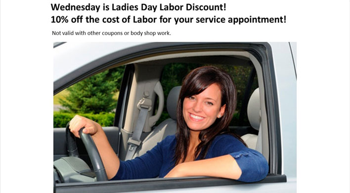 Wednesday is Ladies Day in our service department
