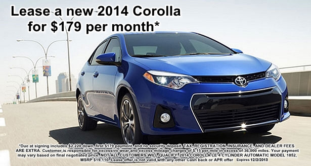 Lease a 2014 Corolla at Bill Page Toyota for $179