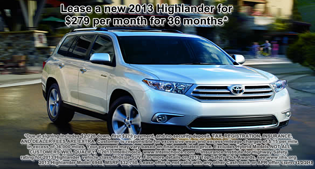 Lease a 2013 Highlander at Bill Page Toyota for $279