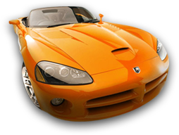 Orange convertible car symbol of Automax USA