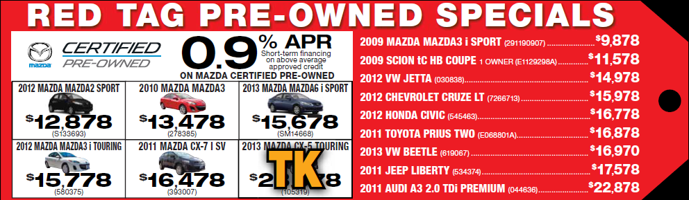 South Bay Mazda Red Tag Pre-owned Specials
