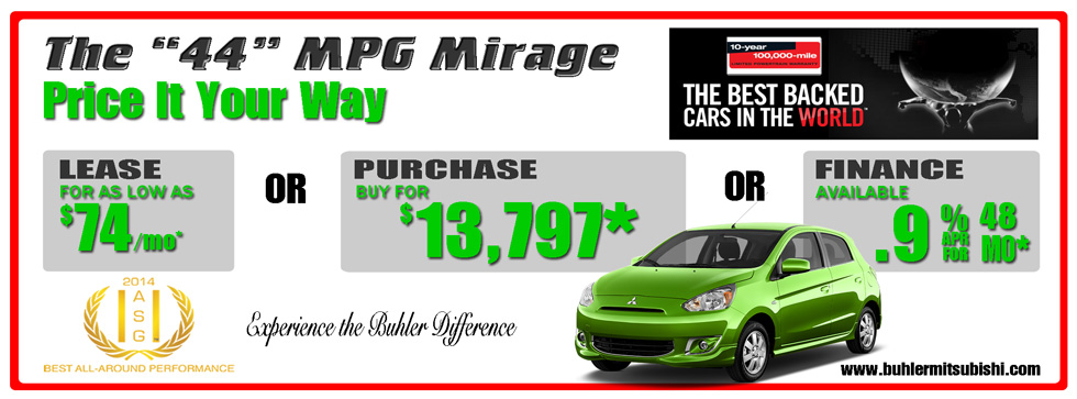 Buhler Mitsubishi Mirage Price It Your Way, Lease, Purchase, Finance 732-544-5155.  Ask for Danny Cruz, Bill Leonard, Queen