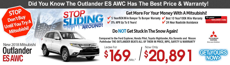 2018 Mitsubishi Outlander ES AWC Lease Special
